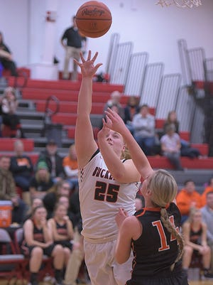 Courtney Pifher scores two of her eight points against Upper Sandusky. She is impressing in her sophomore season, leading the team in scoring.