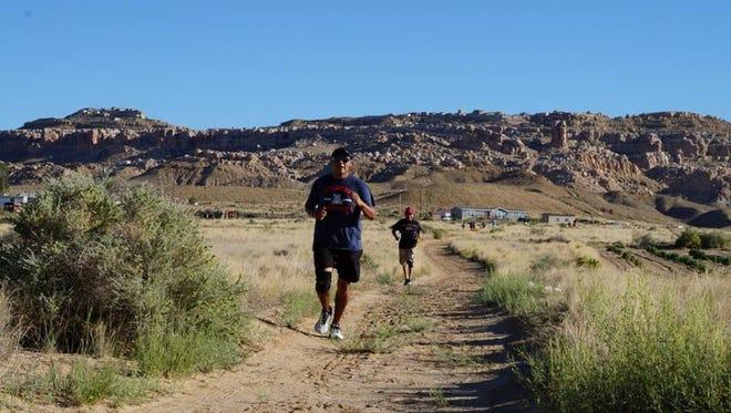 Sam Taylor running on the Hopi reservation.