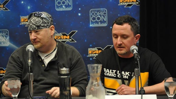 """Punk,"" left, and Jeff Michael Vice record an episode of ""Geekshow Podcast"" at FanXperience 2014."