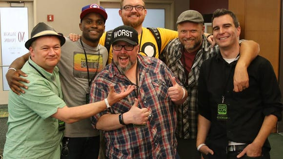 From left, Kerry Jackson, Jay Whittaker, Shannon Barnson, Tony Eccles, Leigh George Kade and Jimmy Martin, of Geekshow Podcast, pose for a photo at Salt Lake Comic Con 2015.