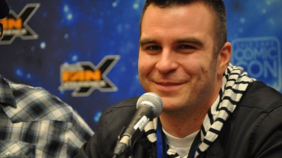 """Jimmy Martin records an episode of """"Geekshow Podcast"""" during FanXperience 2014."""