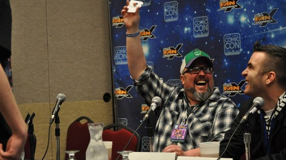 """Shannon Barnson and Jimmy Martin have some fun before a recording of """"Geekshow Podcast"""" at FanX 2013."""