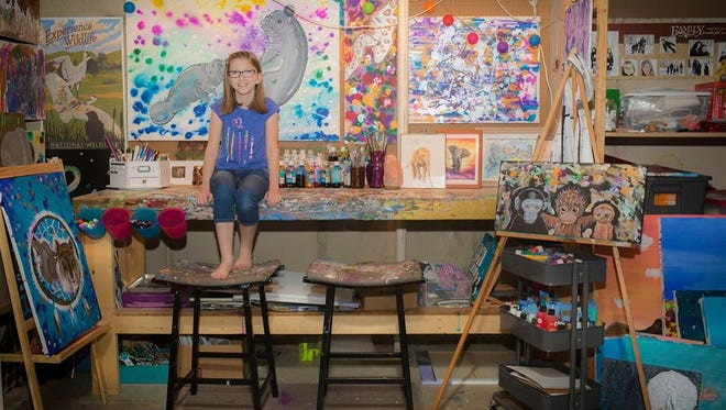 Sioux Falls student Bria Neff will display her art 'Faces of the Endangered' at the Washington Pavilion this spring.