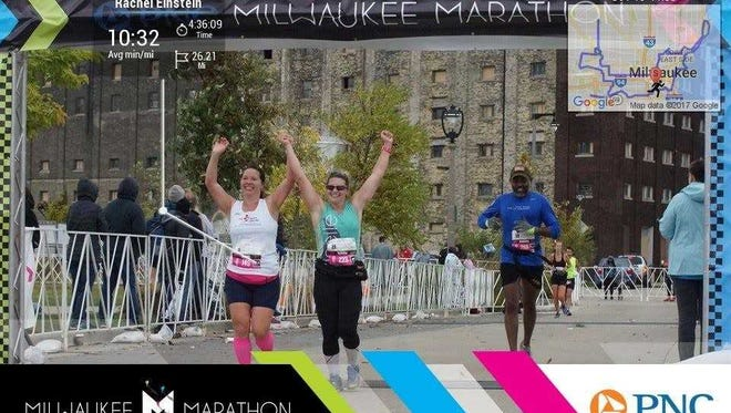 Runner Tori Hartmann (middle) will run her 30th marathon on her 30th birthday.