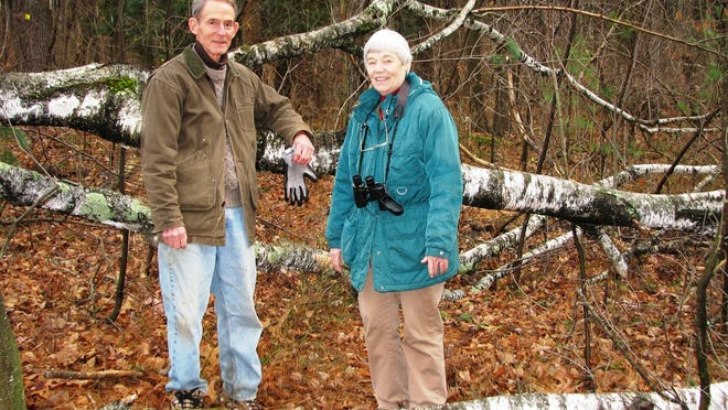 Bill and Marian Harman of Westford pause for a photo along one of the town trails. Marian Harman is editor of the Wildlife Watch column, which appears monthly in the Eagle-Independent.