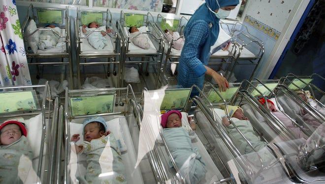 Newborn babies born on December 12, 2012.
