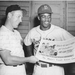 Danny Litwhiler, left, and Jackie Robinson, right.