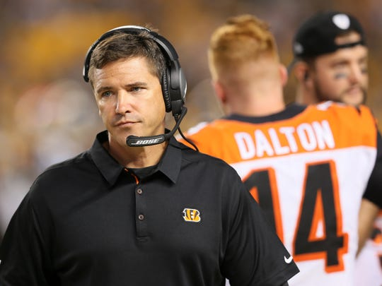 Cincinnati Bengals offensive coordinator Bill Lazor walks the sideline in the fourth quarter during the Week 7 NFL game between the Cincinnati Bengals and the Pittsburgh Steelers, Sunday, Oct. 22, 2017,  at Heinz Field in Pittsburgh.