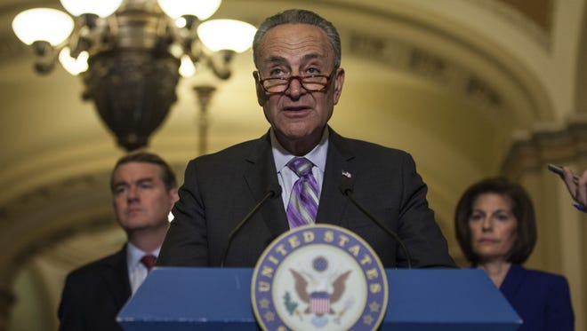 Senate Minority Leader Chuck Schumer speaks during a weekly press conference on Capitol Hill on June 13, 2017.
