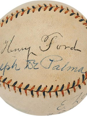 A baseball signed by Henry Ford is expected to fetch more than $3,000 at Lelands.com, a auction house. Racing great Ralph De Palma -- winner of up to 2,000 races, including the 1915 Indianapolis 500, and designer of the Ford-built engine in the WWI Kettering Bug -- signed the ball below Henry.
