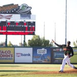 Joxelier Garcia bats for the Great Falls Voyagers at the bottom of the second inning in a game against the Helena Brewers in Centene Stadium on Friday.