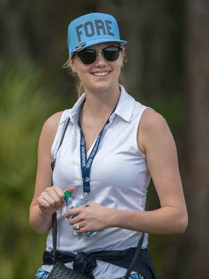 Kate Upton watches during the Diamond Resorts Invitational Sunday in Orlando, Fla. Her fiance, Tigers pitcher Justin Verlander, finished 16th among the celebrities.