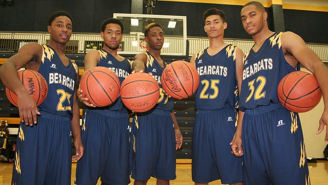 The key returners for Battle Creek Central include, from left, Dontell Hardy, Ahmed McKinney, DaMonte Thomas, Wendell White and Malik Thompson.