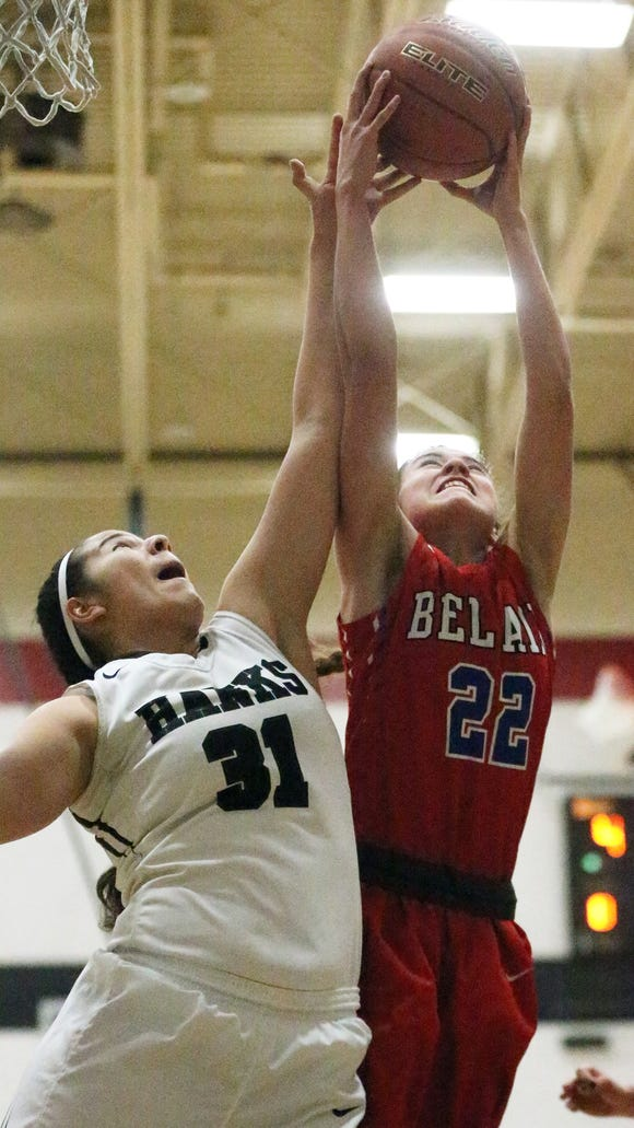 Renee Haslett, 22, of Bel Air gets the upper hand on a rebound against Jessica Magallanes of Hanks Friday night.