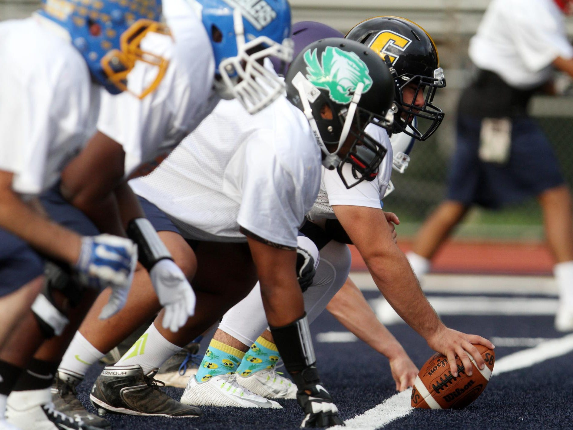 The Middlesex County offensive line practices for the Snapple Bowl, Monday, July 6, 2015, at Colonia High School in Woodbridge, NJ.