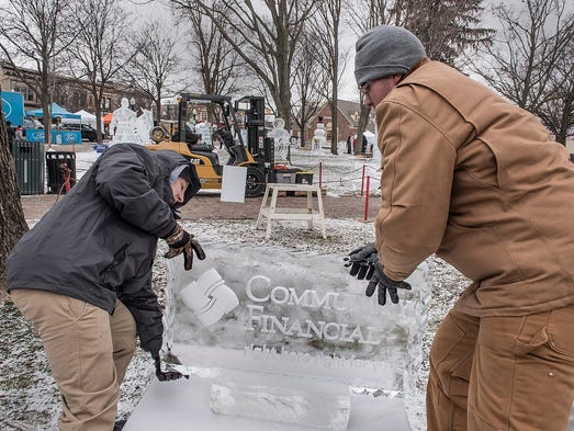 Borden Korostetskyi and Joseph Wakar set up an ice
