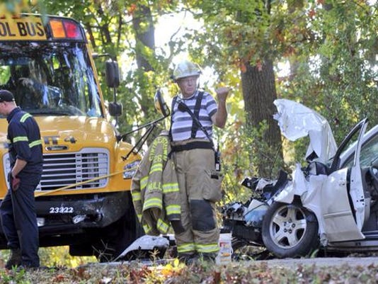 Crews are on the scene of a crash involving a school bus in Conewago Township.