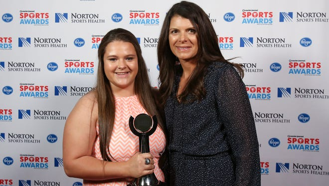 Two-time U.S. Olympic gold medalist Mia Hamm, right, posed with Breanna Elkin during the CJ Sports Awards.