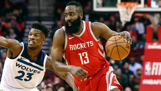 James Harden scored 10 points on 3-of-15 shooting after missing seven games.