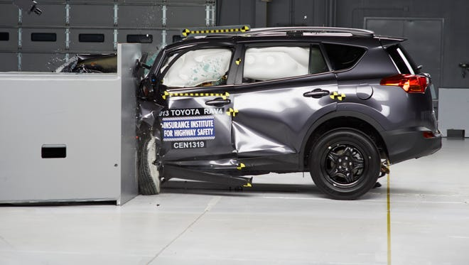 """The redone 2013 Toyota RAV4 scored  """"poor"""" in the Insurance Institute for Highway Safety narrow-offset frontal crash, meaning  a high likelihood of severe, life-threatening injury."""