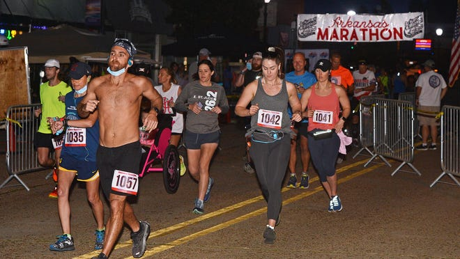Runners in the full marathon division begin the 52nd Annual Arkansas Marathon on Saturday morning, Oct. 10, 2020, in Booneville.