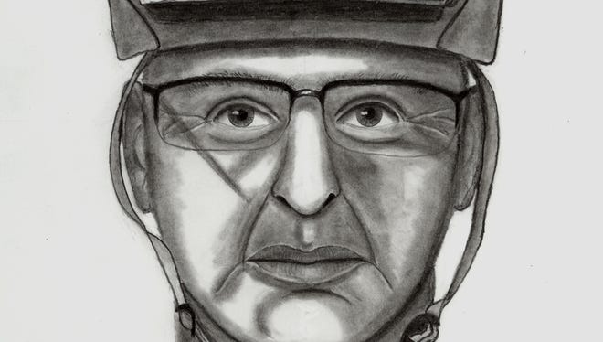 Police sketch of suspect who accosted woman along Putnam Trailway.