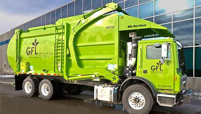 The familiar red Rizzo Environmental Services trash trucks are being replaced with bright green GFL haulers.