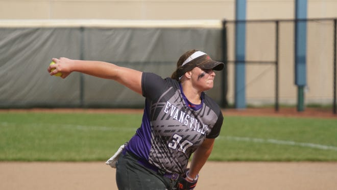 University of Evansville sophomore Morgan Florey ranks 28th in Division I with 188 strikeouts this season.