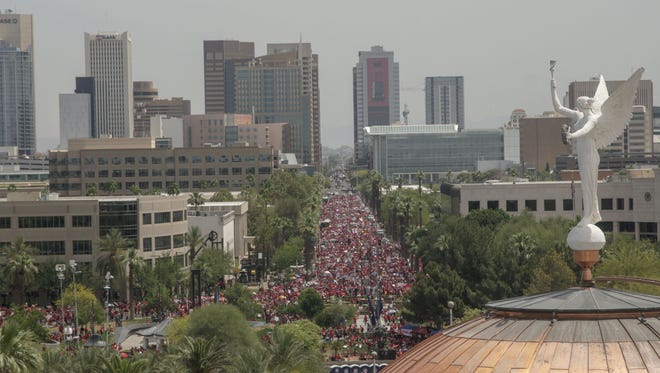 The Arizona State Senate adjourned Thursday after brief discussion of the state budget and without approving a deal, as tens of thousands of teachers and their supporters marched on the Capitol.