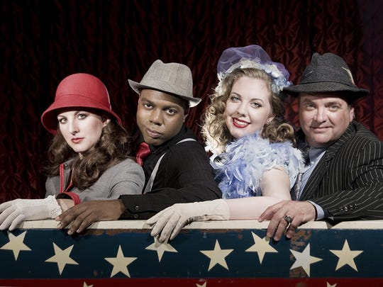 """Jenny Norris Light, left, Michael Maupins, Hallie Long and Brian Best perform in """"Guys & Dolls."""""""