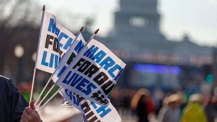 People arrive early for the March For Our Lives rally