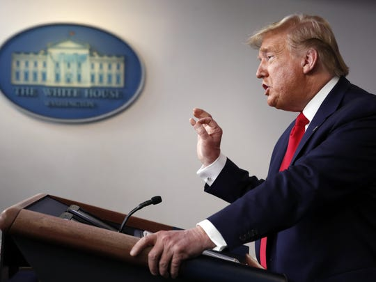 President Donald Trump speaks about the coronavirus in the James Brady Briefing Room, Thursday, March 26, 2020, in Washington. (AP Photo/Alex Brandon)