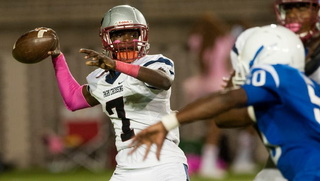 Park Crossing quarterback Micale Cunningham throws against Lanier in Montgomery, Ala., on Friday October 14, 2016.