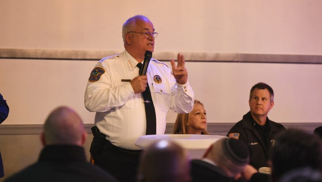 Bergen County Sheriff Michael Saudino speaks to participants  during a safety seminar for schools and houses of worship in the wake of the Florida shooting, photographed at Avenue Event Space in Teaneck on 03/05/18.  Local law enforcement talk about safety measures and the Bergen County Sheriff brings the SWAT team and K9 unit.