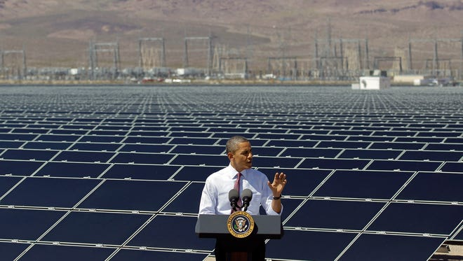 President Obama speaks after touring Sempra's Copper Mountain Solar 1 facility in Boulder City, Nev., on March 21, 2012.