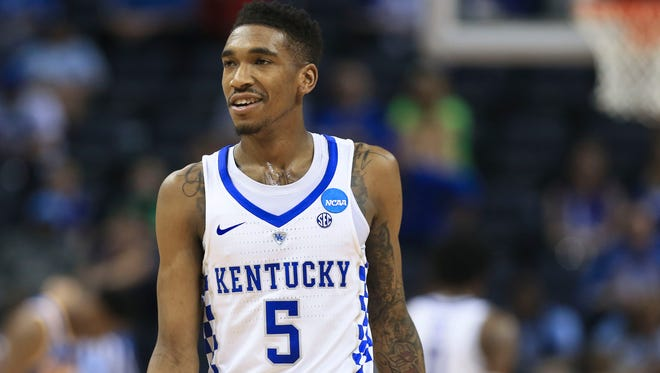 Kentucky's Malik Monk could smile a little in the last two minutes as the Wildcats  beat UCLAb86-75 to advance to the Elite Eight of the South Region at the FedExForum in Memphis Friday night. Monk finished with 21 points.