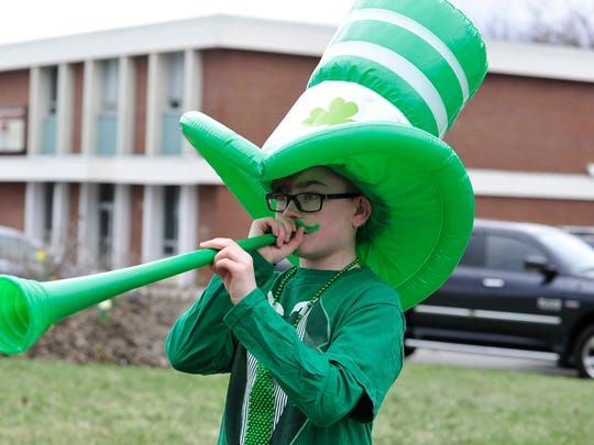 Gavin Maguire enjoys the 2016 St. Patrick's Day Parade on Skyline Drive in Ringwood.