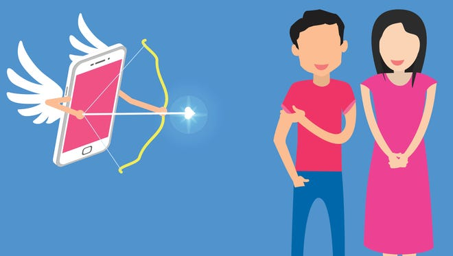 Cupid aimed arrow a couple of love metaphors to online media in the era of apps Application to communicate. In vector style.