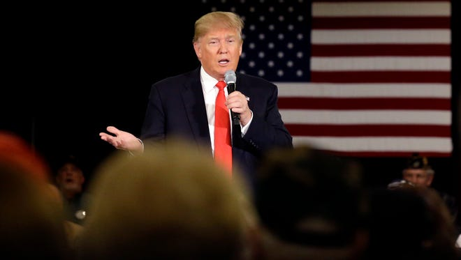 Republican presidential candidate Donald Trump speaks at a campaign stop Wednesday, in Appleton, Wis.