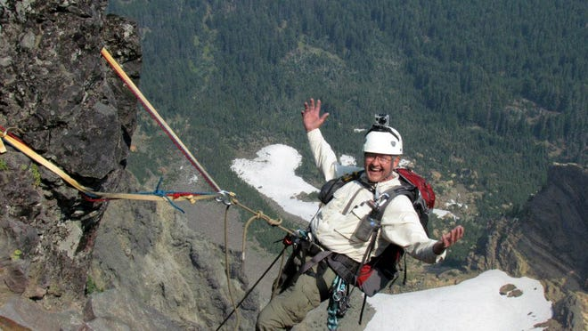 Dave Hayden happy and relaxed in his harness on Mount Washington.