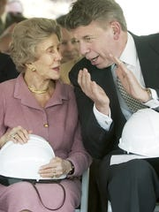 Dorothy Park talks with William Haines, former chairman of the Ithaca College Board of Trustees, before the groundbreaking for the new building for the School of Business in 2006.
