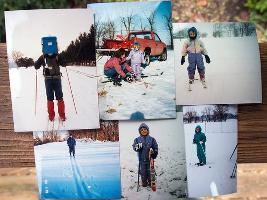 Tom Gross first took his daughter Erin cross country skiing when she was a few months old in a backpack. Pictures of her from 1989-2001 skiing, are displayed in Lower Windsor Township in December.