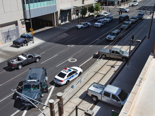 An overhead view of  the scene of the CityScape shooting