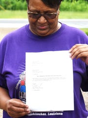 Aretha McWright received a letter from Evans on May