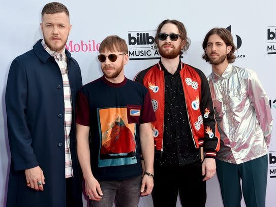 Dan Reynolds, from left, Ben McKee, Daniel Platzman
