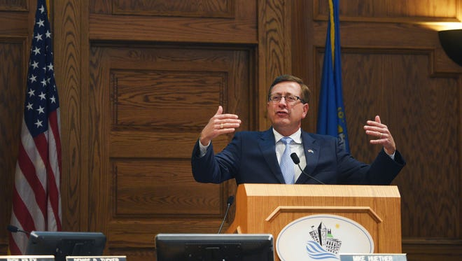 Mayor Mike Huether gives his last State of the City address Tuesday, April 3, in Sioux Falls.