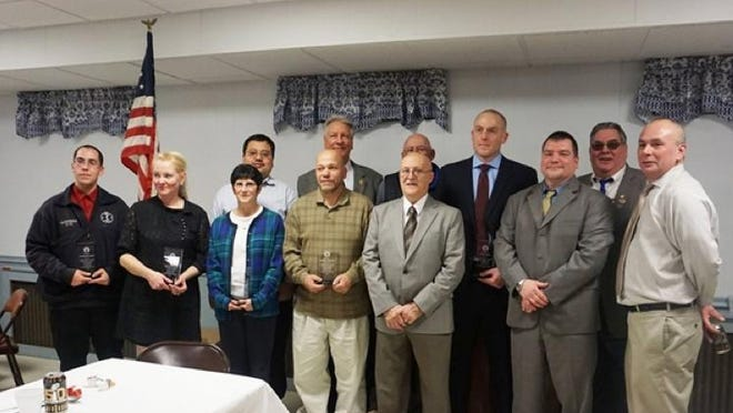 Front (left to right): Brendan Hernandez (Beacon FD); Linda DiBirta (Beacon VAC); Karen Piga (Beacon VAC); Richard Antonaccio (Beacon VAC); Jerry Landisi (Dutchess County Legislator for District 18); Terrence Davis (Fishkill Correctional Facility); and George Dionysius (Beacon Elks Lodge Exalted Ruler). Rear (left to right): Antony Tseng (Beacon VAC); Dennis Cable (Slater Chemical Fire Company); Tom Williams (Dutchess Junction Fire Company); Sgt. Robert Sellick (Beacon PD); and Carl Oken (Beacon Elks Lodge Esteemed Lecturing Knight).