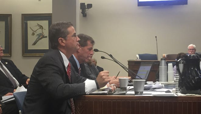 Secretary of the Louisiana Department of Public Safety and Corrections Jimmy LeBlanc and Undersecretary Thomas Bickham testify on the effects of a $39 million reduction to the corrections budget before a Senate Finance Committee Wednesday night.