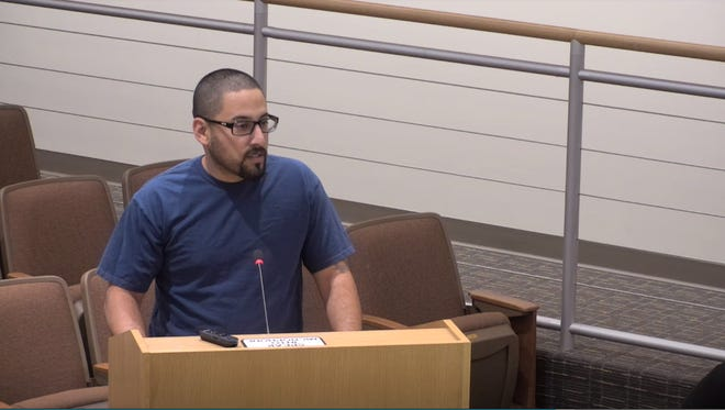 Indio resident Isias Rodriguez addressing the city council on sanctuary policies during a city council meeting on April 4, 2018.