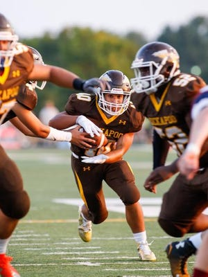 Malachi Stout scored five touchdowns in one half of work for Kickapoo on Friday night.